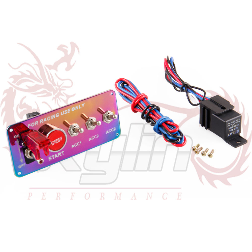 12V Ignition Switch Panel Push Button Start Engine Start Kit with 3 ...