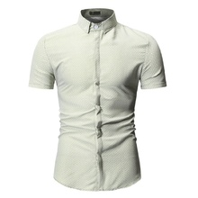 2019 Brand New Printed Plaid Polka Dot Men Shirt Short Sleeve Casual Shirts For Slim Fit Male Dress Camisas Masculina