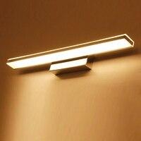 욕실 led 미러 빛 42-52cm 스테인레스 스틸 벽 램프 화장품 방수 벽 sconces 램프 허영 조명 실내 조명