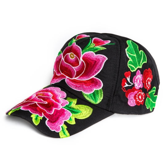 Beret Free Shipping Spring, Summer, Autumn National Wind Leisure Hat The Peony Embroidery Flower Cap Female Half Is Adjustable