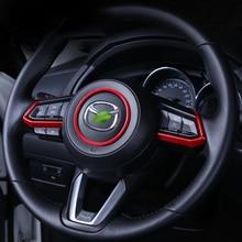 Car Steering Wheel Trim Circle Sequins Cover Sticker For Mazda 3 6 CX3 CX-3 CX-5 CX5 CX8 CX 9 Axela ATENZA 2017 2018 Accessories braid on the steering wheel cover for mazda 3 axela 2003 2009 mazda 6 atenza 2004 2008 mazda 5 2004 20 tampa do volante do carro