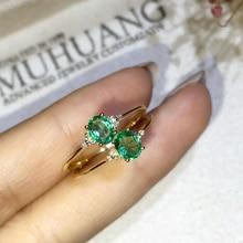 0,3 карат против изумруда кольцо 18 К желтое золото обручальное кольцо Кукуруза зеленый драгоценный камень подарок на День святого Валентина для подруги студента