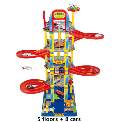 Super building car multi track parking lot toy auto construction of parking lots track car Railroad Toys for children brinquedos car parking lot toy model children assembled track parking garage toy diy assembled two story parking with tire carrying case