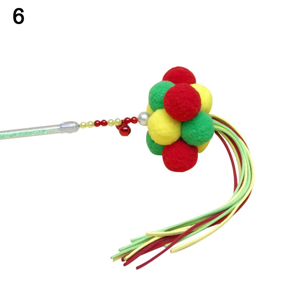 Funny Three Colors Balls Tassels Pet Cat Tease Stick Rod Play Interactive Toys