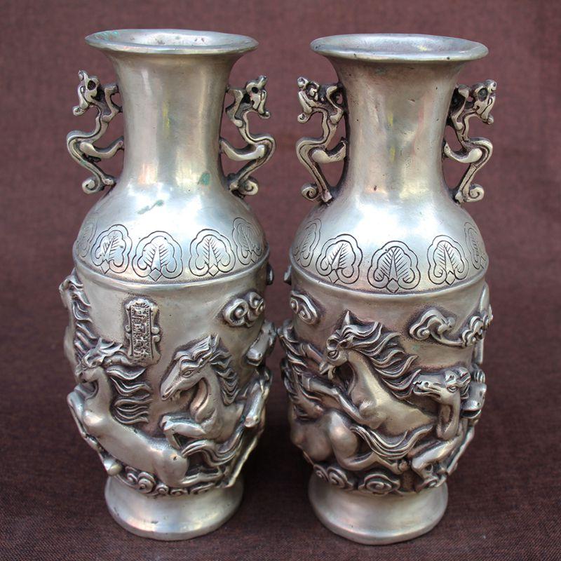 Rare Qing Dynasty QianLong(1726---1796) Silver vase,Horse, a pair, free shippingRare Qing Dynasty QianLong(1726---1796) Silver vase,Horse, a pair, free shipping