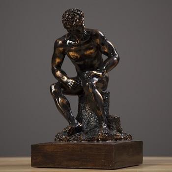 Thinker Statue Sculpture Le Poete Figure Home Decor European Resin Figurine Room Desk Crafts R1165