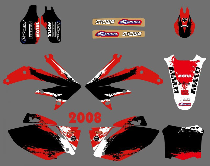 MOTORCYCLE TEAM GRAPHICS & BACKGROUNDS DECALS STICKERS Kits for Honda CRF450 CRF450R 2008 CRF 450 450R цена