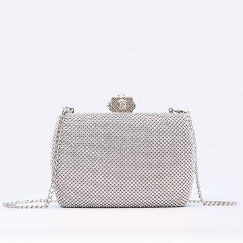 Bolso de mano largo diamante Cluthes para mujer, bolso de noche con diamantes de imitación, bolso de hombro con cadena, bolsos de mano para fiesta y Banquete de noche