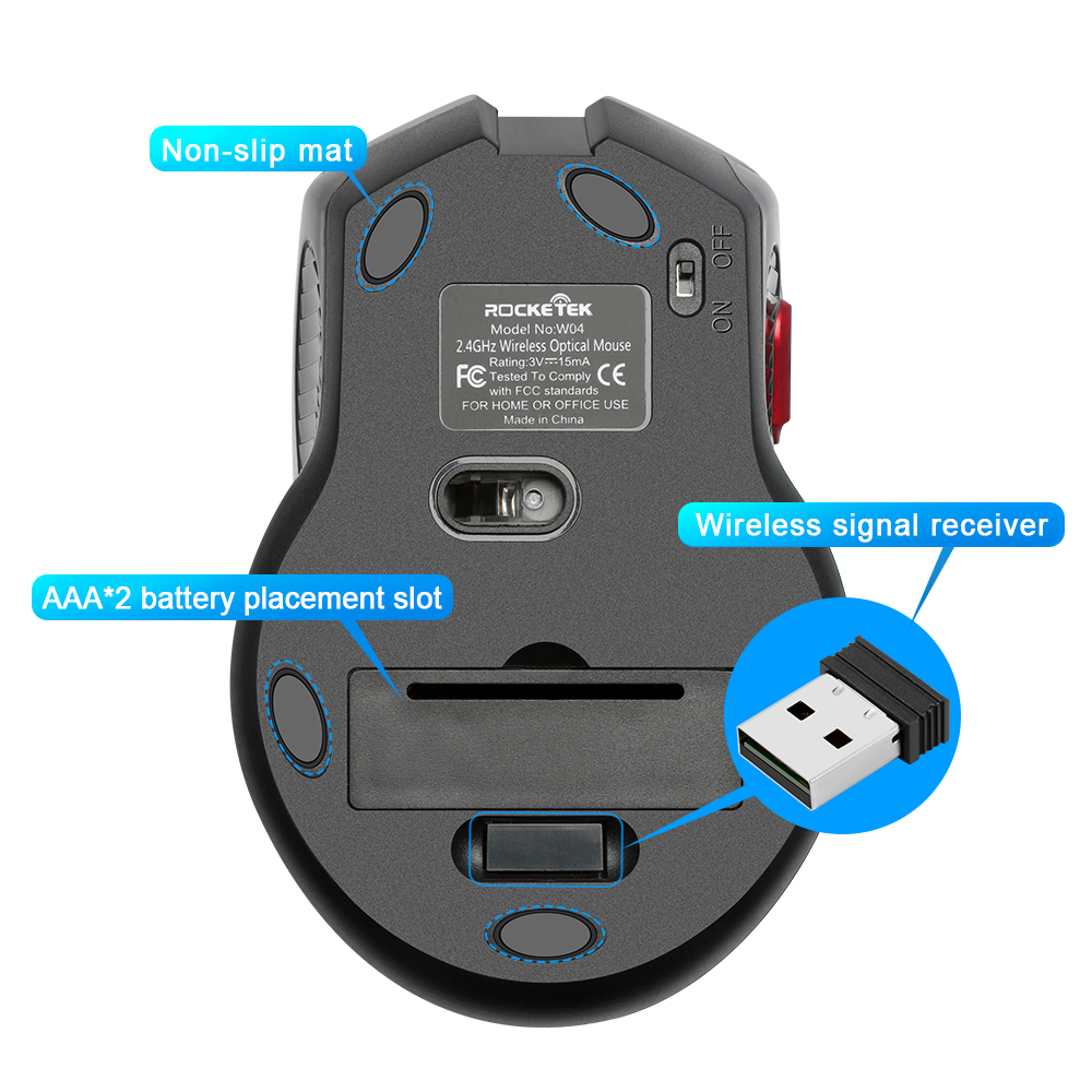 Image 4 - Rocketek USB Wireless Gaming Mouse 1600 DPI 6 buttons optical ergonomic for overwatch game laptop computer Mice-in Mice from Computer & Office