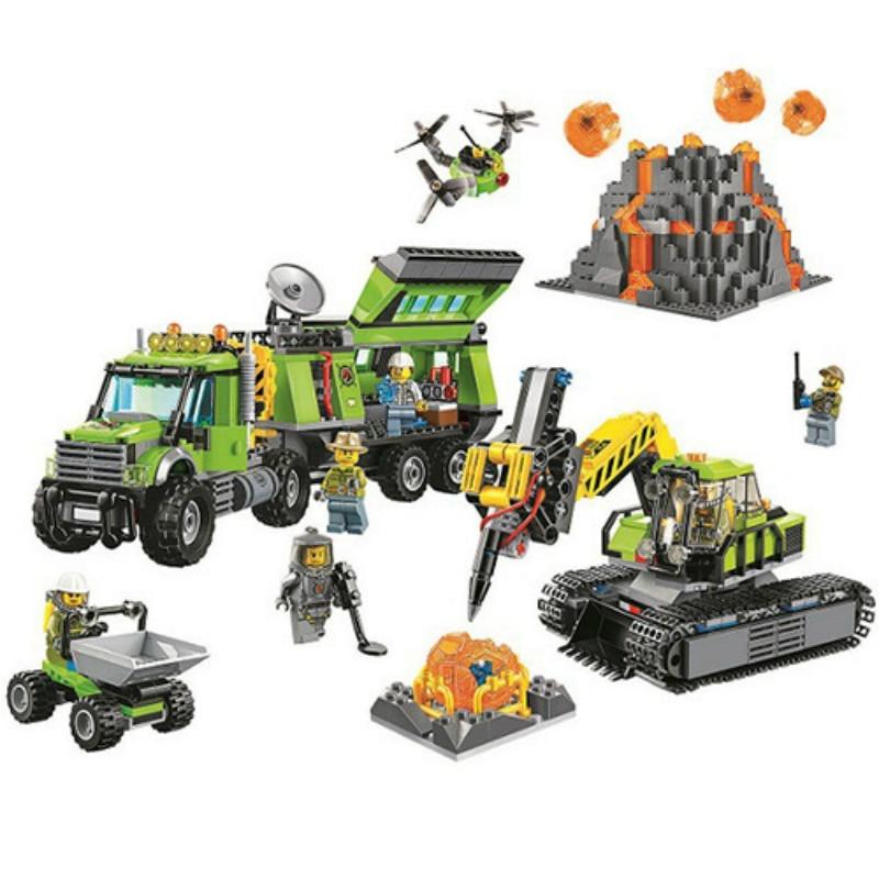 Bela 10641 City Volcano Exploration Base Building Blocks Construction Toy 60124 Legoings City Figures Model Bricks Toys Gift
