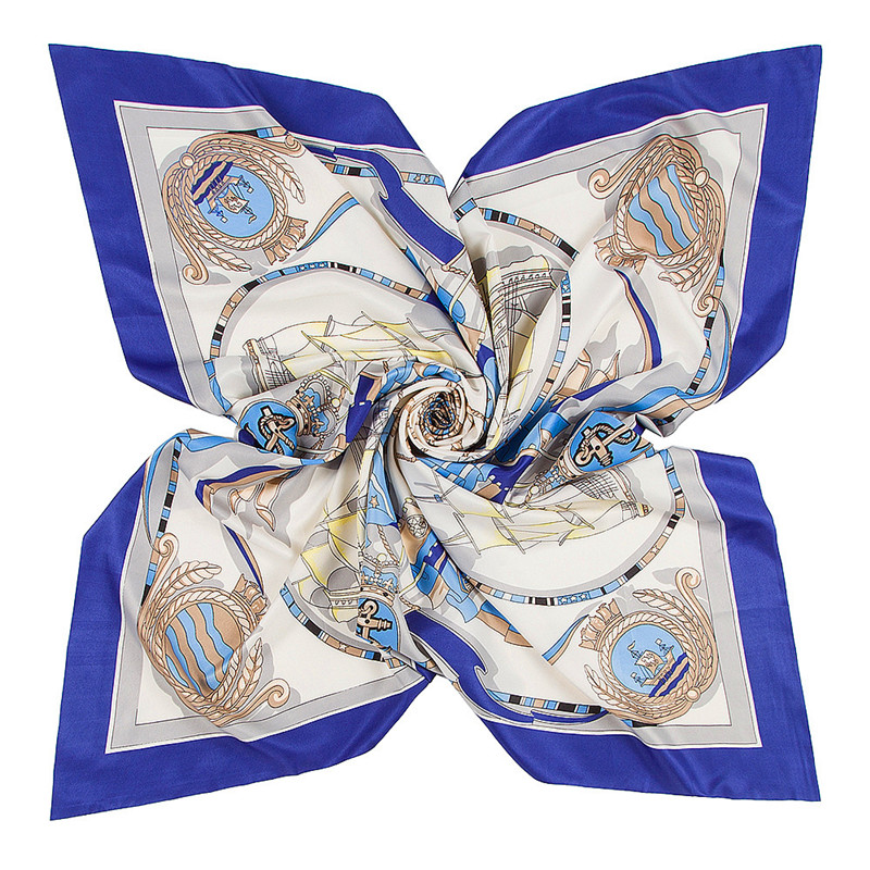 2019 new 100% Silk   Scarf   Women Square   Scarves     Wrap   Ocean Sailboat Anchor Neckerchief Female Foulard Silk Hijab Lady Bufandas