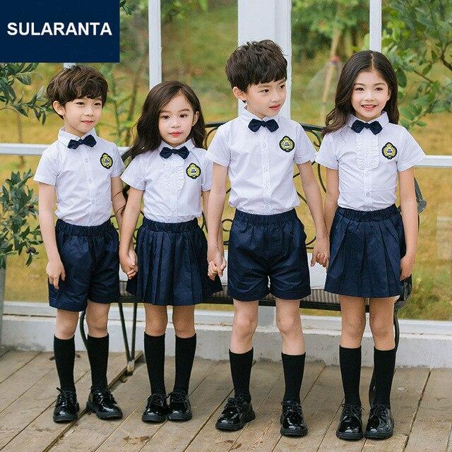 kids japanese korean school uniform for girls boys white shirt tops