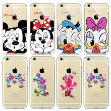 Cute Lovely Cartoon Minnie Mickey Mouse Case coque for iphone 7 6 6s plus 5 5S SE Phone Cases Snow White Mermaid Silicone Covers