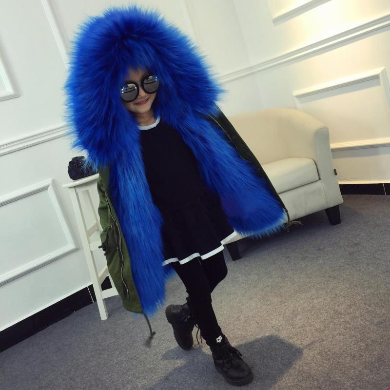 Девушки толстые меховые куртки детская одежда принцессы 2018 зимняя теплая куртка для детей воротник верхняя одежда с капюшоном плащ открыты... ...