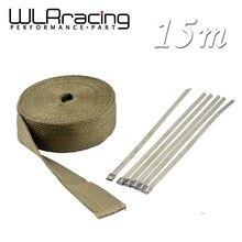 WLRING STORE- 2″x 50′ Premium Exhaust Heat Wrap Manifold Wrap Titanium Lava Fiber Thermal Heat Wrap + 6 pcs Ties WLR1915T