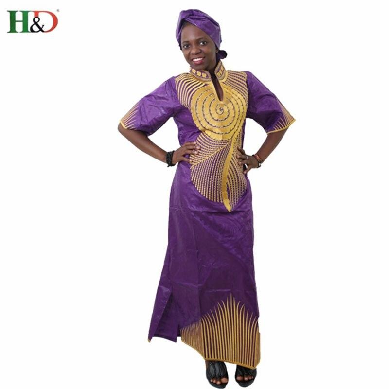 H & D Afrika bazin Moda kadınlar elbise yarım Kollu Nakış Riche - Ulusal Kıyafetler - Fotoğraf 1
