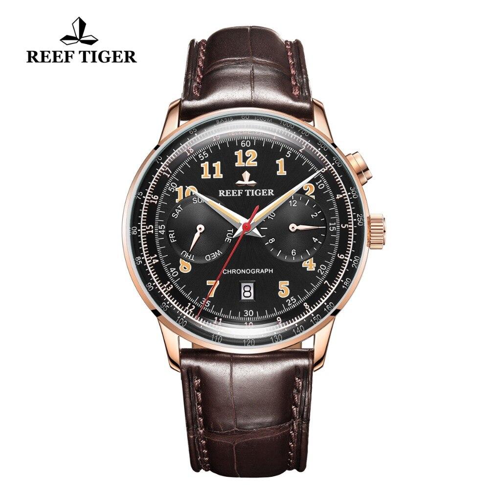 Риф Тигр/RT мужские классические часы для мужчин розовое золото многофункциональные часы сапфировое стекло автоматические часы RGA9122