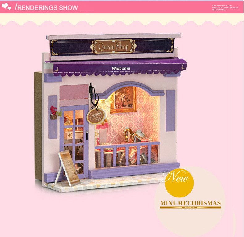 Kids Creative DIY Doll House Room Box Home Handmade Toy Purple Shop Model Kit Assemble Miniature Dollhouse Toys Girl Lovely Gift  (2)
