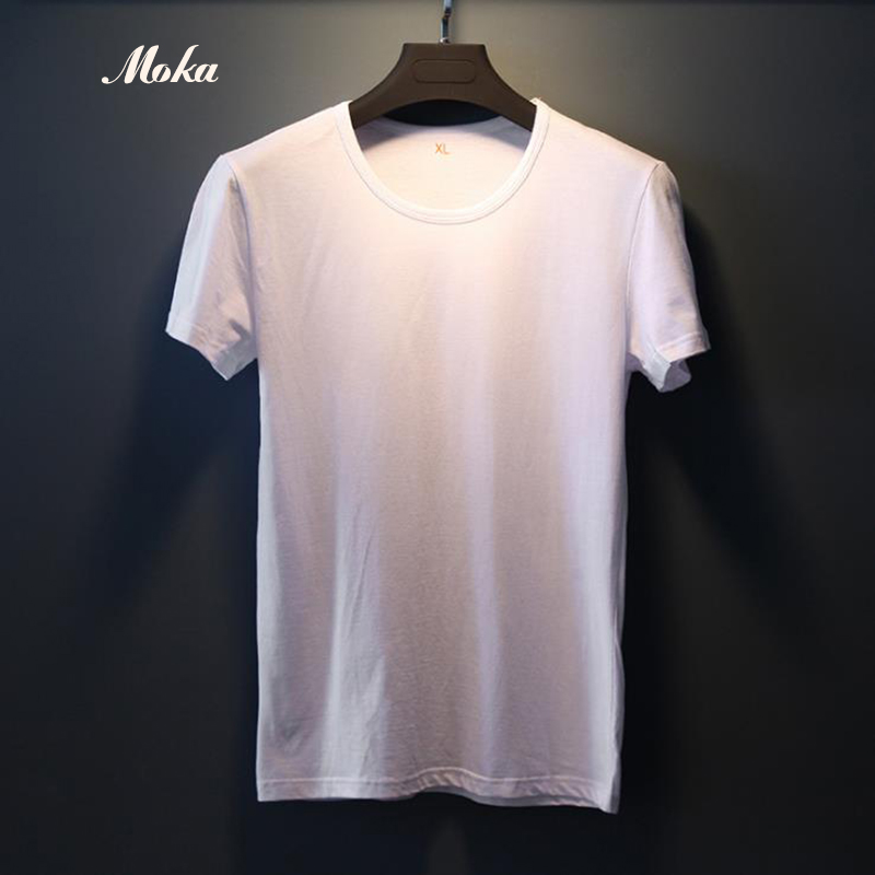 Mens White Undershirt Mans Solid Color Cotton Undershirt Underwear Clothing O Neck Sleeve Relax Breathable Strench Underpants