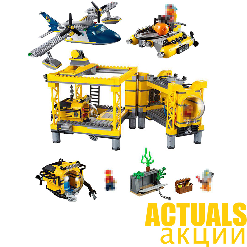 1016PCS LEPIN City Explorers 02088 Deep Sea Operation Base Helicopter Building Blocks Bricks DIY Toys For Children Gifts 60096 compatible city lepin 02005 889pcs the volcano exploration base 02005 building blocks policeman educational toys for children