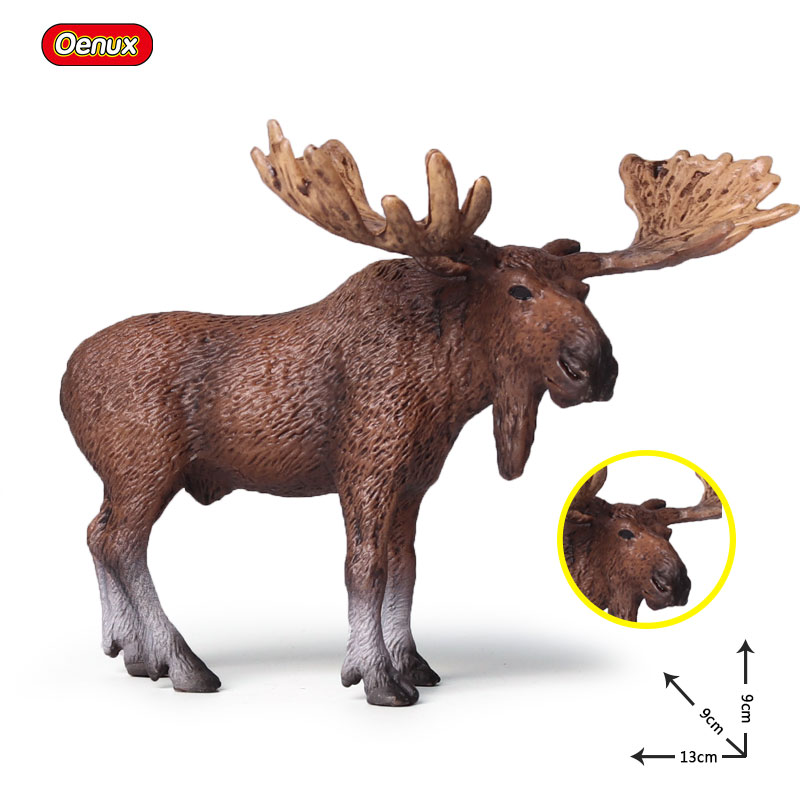 Oenux Wild Animals Elk Figurines Model Simulation Pere Davids Deer Solid PVC Action Figures Collection Toy Kids Birthday Gift