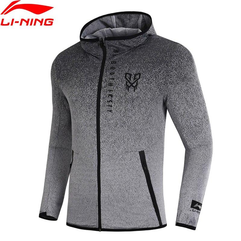 Li-Ning мужской баскетбольный свитер серии CBA с капюшоном с градиентным цветом, комфортное спортивное пальто AWDN343 MWW1416