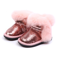 Warm Winter First Walkers 2018 New Fashion Bling Baby Snow Boots Cute Rabbit Fur Toddler Girl Shoes Black Pink Gray 1 years