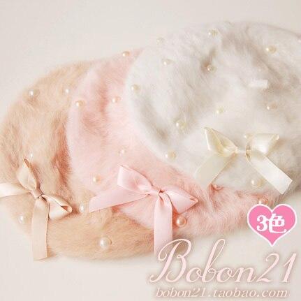 Принцесса сладкий лолита hat Bobon21 высокое качество жемчужина лук кролика художник cap ac0924 мягкая амо лолита аксессуары