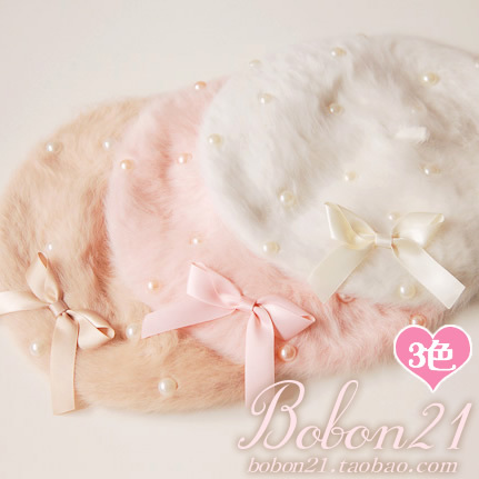Princess sweet lolita hat Bobon21 high quality pearl bow rabbit fur painter cap ac0924  soft amo lolita accessory