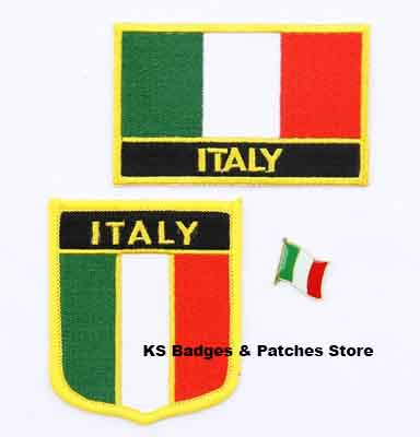 Italy flag patch badge 3pcs a Set Patches for Clothing DIY Decoration KS-0206