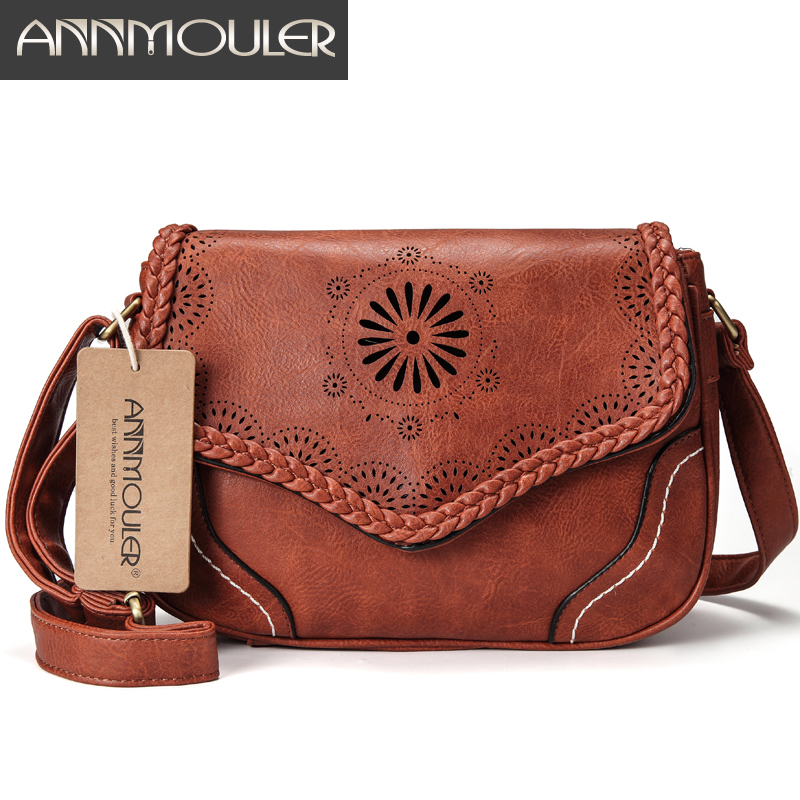 Annmouler Brand Women Shoulder Bag Vintage Pu Leather Crossbody Bag Hollow Out Ladies Satchel Bag Brown Retro Handbag For Girls