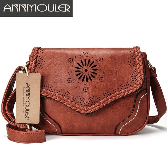50fe5e91572 Annmouler Brand Women Shoulder Bag Vintage Pu Leather Crossbody Bag Hollow  Out Ladies Satchel Bag Brown Retro Handbag for Girls