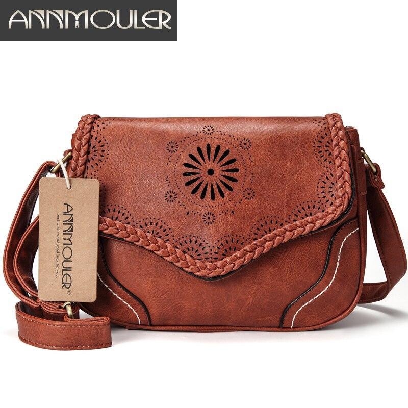 Annmouler Marke Frauen Umhängetasche Vintage Pu Leder Crossbody Beutel Aushöhlen Damen Umhängetasche Braun Retro Handtasche für Mädchen