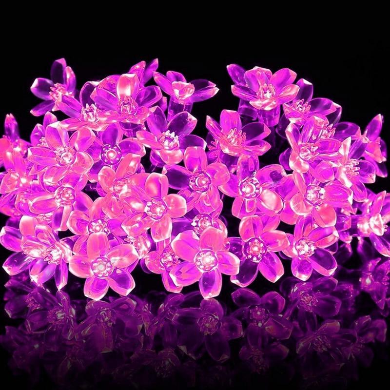 Chiclits светодиодный Солнечный свет строка Водонепроницаемый 50 светодиодный 7 м цветочные гирлянды сад Новогодние ёлки Свадебная вечеринка Д...