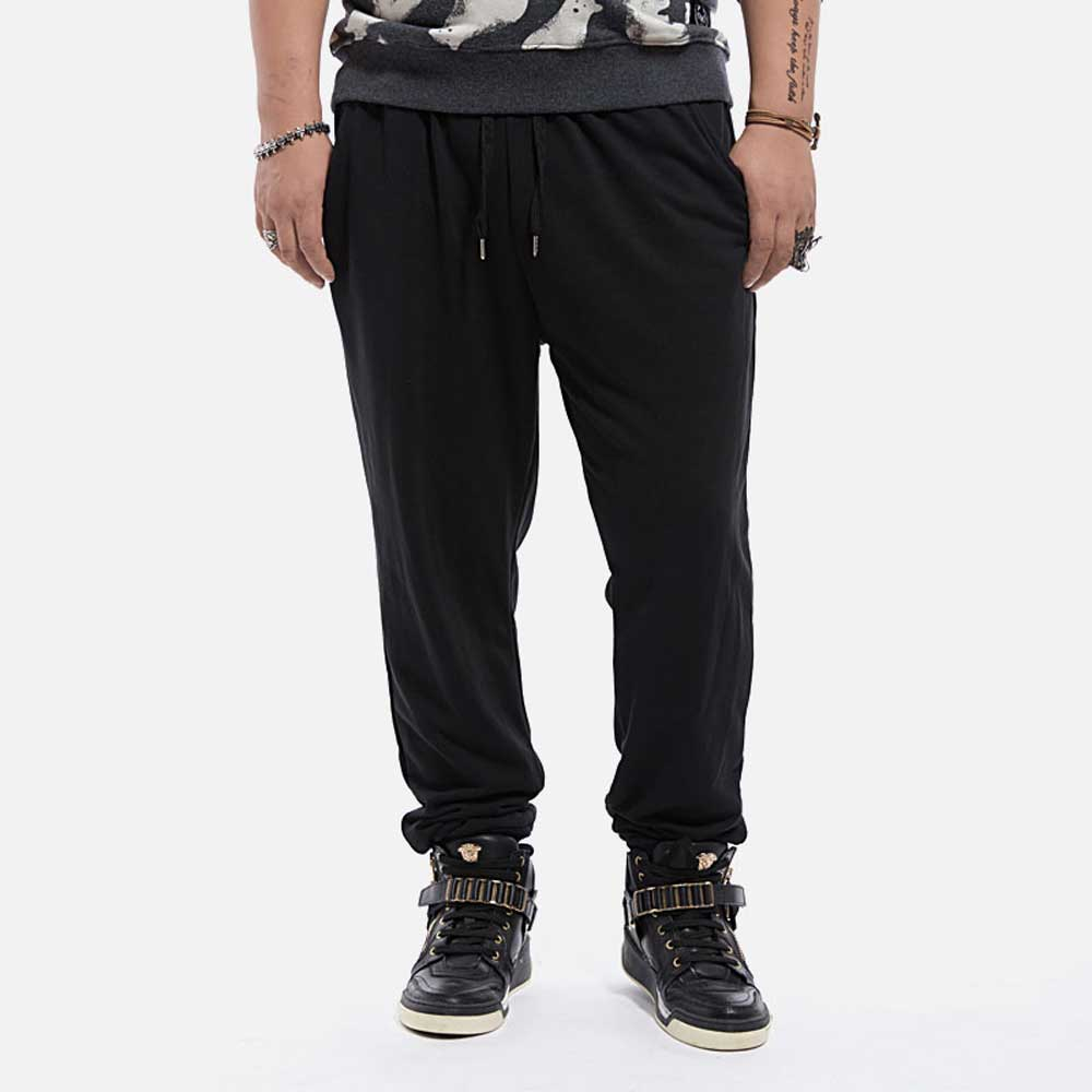 Men' Baggy Sweatpants Joggers Loose Fit 100 Cotton Sweat Pants Drawstring Solid Grey Black