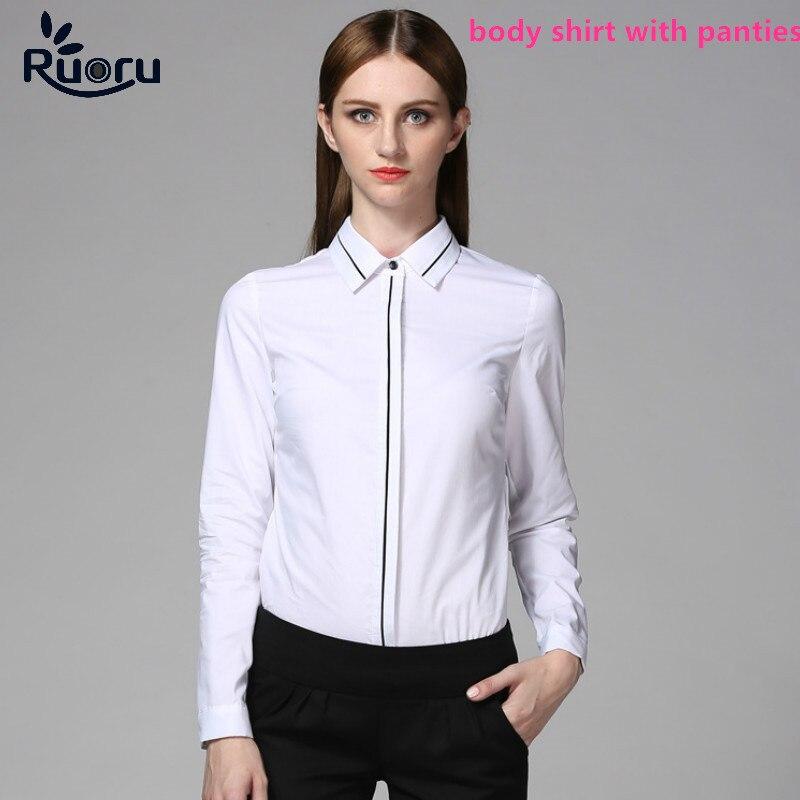 Ruoru White OL Slim Body Shirt Blouse Long Sleeve Bodysuit Formal Women  Tops Clothes Office Blouse 5008dd5e1