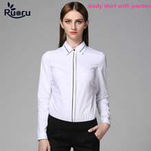 Ruoru White OL Slim Body Shirt Blouse Long Sleeve Bodysuit Formal Women Tops Clothes Office Chemise Femme Lingerie