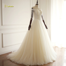 Loverxu Robe De Mariee Three Quarter Wedding Dresses 2019
