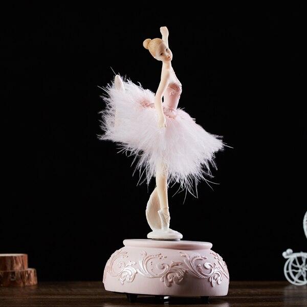 Ballerine rose aquatique boite à musique blanche Ballet fille rotative boite à musique jupe plume carrousel 3 dmariage cadeau d'anniversaire pour filles - 5