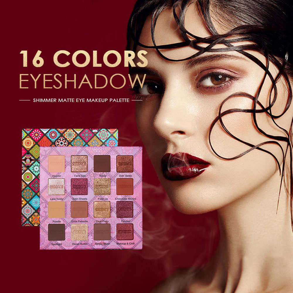 GUICAMI 16Color Nude Shining Eyeshadow Palette Makeup Glitter Pigmented Smoky Smooth Eye Shadow Waterproof Lasting Cosmetics Kit 2