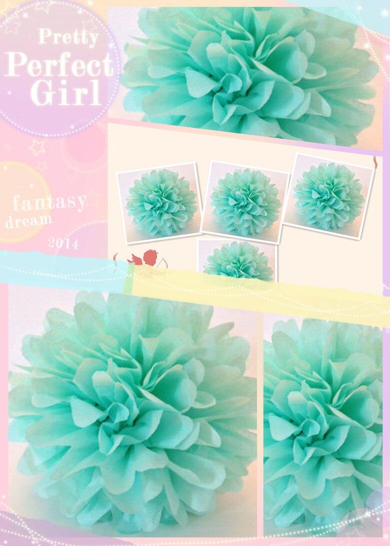 Mint Blue 30pcs 1845cm Tissue Paper Pom Poms Artificial Flower