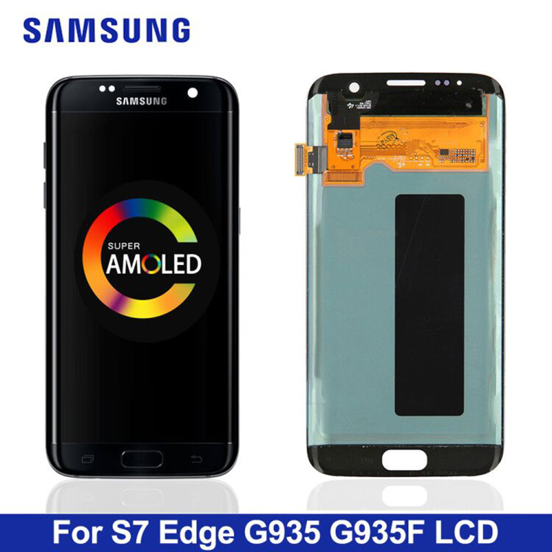 5.5'' Replacement The Burn-Shadow Display For SAMSUNG S7 Edge Pantalla G935 G935F LCD Screen Digitizer Assembly With Frame