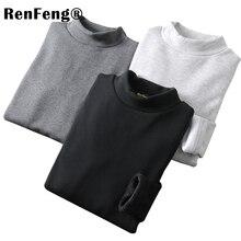 Camisa de manga comprida t camisa masculina de algodão com gola alta homem t camisa de inverno 2018 ajuste fino flanela tartaruga pescoço t camisas para roupa interior masculina