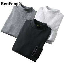 long sleeve t shirt men cotton with high collar man t shirt winter 2018 Slim Fit Flannel Turtle neck t shirts for men underwear