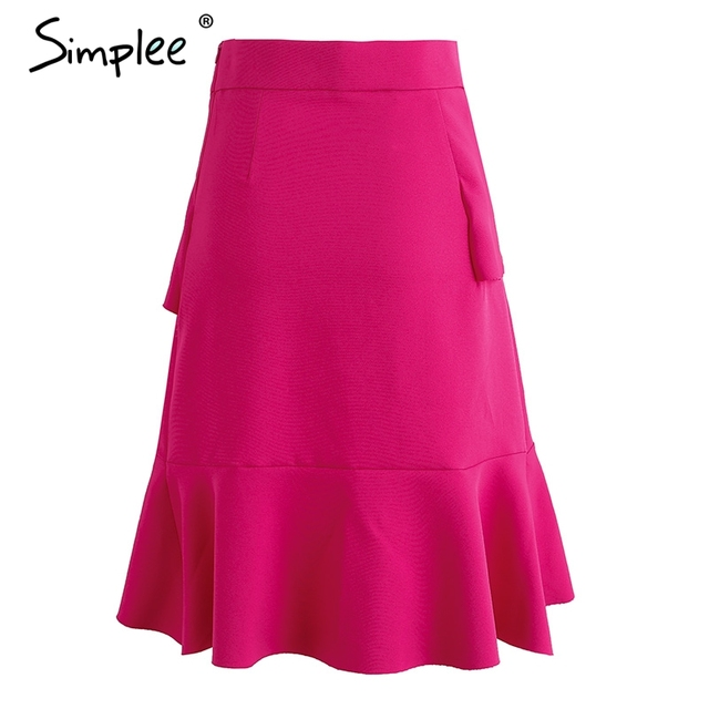 Simplee Sexy irregular short skirt female Ruffle elegant high waist skirts womens bottom Fashion skirt 2017 summer beach