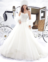Princess A Line Winter Wedding Dresses 2016 Sweetheart Glitter Top With Beading Elegant Wedding Gowns Vestido