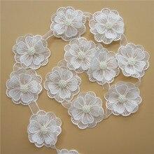 39e4dcd5b 10x blanco perla flor hecho a mano con cuentas de encaje borde cinta de  doble capa apliques vestido DIY de coser