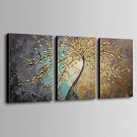 3 pcs Hand painted thick paint pallet knife Oil Painting golden leaves on canvas Modern Home Decor wall art for living room