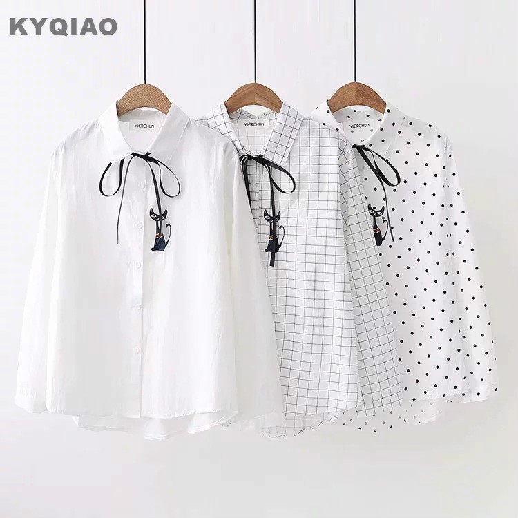 Women's Clothing Kyqiao Cat Embroidery Shirt For Mori Girls Autumn Spring Japanese Style Fresh Cute Long Sleeve White Blue Blouse Blusa
