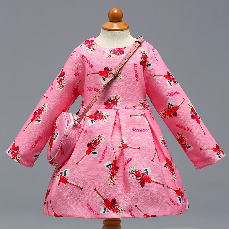 Retail Lovely Girls Pink Autumn Spring Long Sleeves Dress With bag Kids Toy Pattern Evening Party Dress With Bag L-391